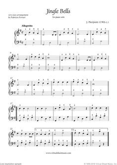 Free Jingle Bells sheet music for piano solo - High Quality [PDF] Piano Music Notes, Easy Piano Sheet Music, Violin Sheet Music, Piano Songs, Music Songs, Christmas Piano Sheet Music, Christmas Music, Piano Lessons, Music Lessons
