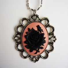 Black rose cameo necklace
