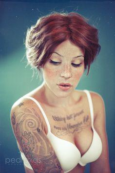 #freckles #redhead #inkedgirl