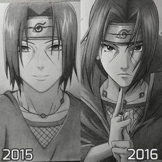 Well, I think I improved a little bit, especially in doing hair and symmetry On the left is my first Itachi drawing I've ever made, as you can see it doesn't look good haha You always ask me how I draw, shade etc., but I really don't know how to explain it I think the secret in being a good artist is to draw a lot, practice, practice, practice and be patient! And you can't force yourself. You'll see that you become better in no time! Just draw a lot and have the will to improve. #itachi…
