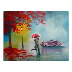 RAINY DAY UMBRELLA KISSING COUPLE PRINT From Zazzlecom cakepins.com
