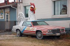 Chicken Car, Freeport, IL | Flickr - Photo Sharing! Freeport Illinois, Chickens And Roosters, Historical Pictures, Pretzel, Poultry, Road Trip, Rocks, Wheels, Guy