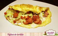 Fajitas de tortilla francesa -  Las tortillas francesas son una cena muy utilizada para dársela a los niños, sin embargo, a veces resultan un poco insípidas y aburridas para ellos. Estas tortillas se pueden rellenar de mil sabores, pero también de algunos ricos productos haciendo una especie de fajita. Es lo que se me ocurrió ... - http://www.lasrecetascocina.com/2014/10/29/fajitas-de-tortilla-francesa/