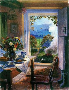 'There's No Place Like Home' by contemporary English Impressionist painter Stephen Darbishire Creation Photo, Illustration Art, Illustrations, Cottage Art, Window View, Oeuvre D'art, Impressionist, Painting & Drawing, Art Photography