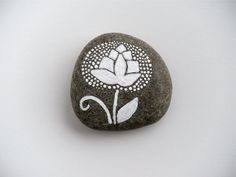 thistle   painted stone  medium size by artinredwagons on Etsy