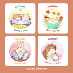 Autumn cards with lovely watercolor animals Free Vector
