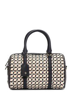 Natürel deri, fermuar kapatmalı, kulplu, çıkarılabilir omuz askılı, iç cepli, logolu Tory Burch çanta. 30x18x17 cm