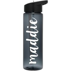 Custom Name Personalized Smoke Gray Water Bottles With Straw Script Cursive Font