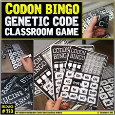 Genetics may be a difficult concept to master for young adolescents. Learning about the genetic code is fairly easy if you understand how to navigate and map the code. A codon is a sequence of 3 nucleotides that code for a single amino acid. Students will get an immediate grasp learning how to use the genetic code through this one-of-a-kind codon bingo game. Students will practice this technique through the use of bingo cards with a built-in genetic code. Science Education, Higher Education, Classroom Games, Classroom Ideas, Bingo Board, Biology Teacher, Bingo Games, Adolescence, Teacher Newsletter