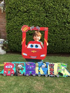 Marco and you letters Cars Disney Cars Party, Disney Cars Birthday, Car Themed Parties, Cars Birthday Parties, Piñata Cars, Lightning Mcqueen Party, Second Birthday Ideas, Race Car Party, Baby Boy Birthday