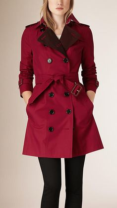 Antique red Contrast Colour Cotton Gabardine Trench Coat - Image 1