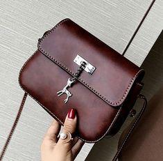 Elegant Crossbody Women's Handbag with Deer Pendant Travel Handbags, Small Wallet, Beautiful Bags, Travel Bag, Saddle Bags, Pu Leather, Deer, Crossbody Bag, Pendants