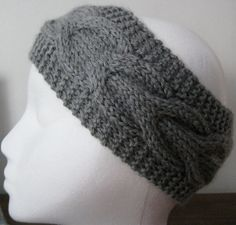 Knit Head Band Ear Warmer Light Gray Ultra Soft by OurCozyCottage, $14.99