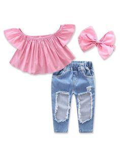 3aafbc19299 Flared Off Shoulder Holey Denim Baby Pantsuit Baby Girl Shirts