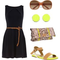 outfit: black sleeveless pleated minidress, tan skinny plait belt, tan sunglasses, lime-yellow / silver round stone studs, beige / lime-yellow clutch, beige / tan / lime-yellow sandals