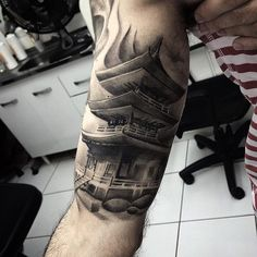 Traditional Japanese temple tattoo design for men