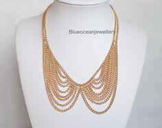 Tassels collar Necklace, Bib necklace, Statement necklace,Holiday Party necklace, wedding necklace, Necklace