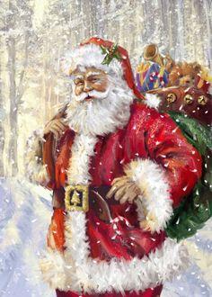 This Artissimo Papa Noel Canvas Wall Decor captures the spirit of the season. Christmas Scenes, Father Christmas, Vintage Christmas Cards, Santa Christmas, Christmas Pictures, Winter Christmas, Christmas Crafts, Christmas Ornaments, Christmas Mantles