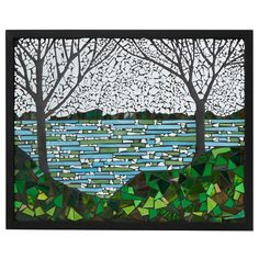 LAKESIDE STAINED GLASS PANEL | stained glass art | UncommonGoods