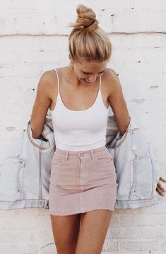 how to wear a denim jacket : white top + pink skirt