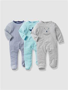 3er-Pack Baumwollstrampler für Babys FARBLICH SORTIERT