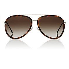 Fendi Women's Aviator Sunglasses ($465) ❤ liked on Polyvore featuring accessories, eyewear, sunglasses, multi, aviator glasses, tortoiseshell sunglasses, clear aviator glasses, fendi glasses and logo sunglasses