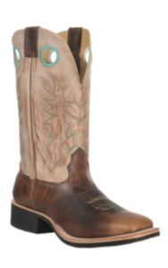 Cavender's Men's Brown with Vintage Tan Top Double Welt Crepe Sole Square Toe Western Boots | Cavender's