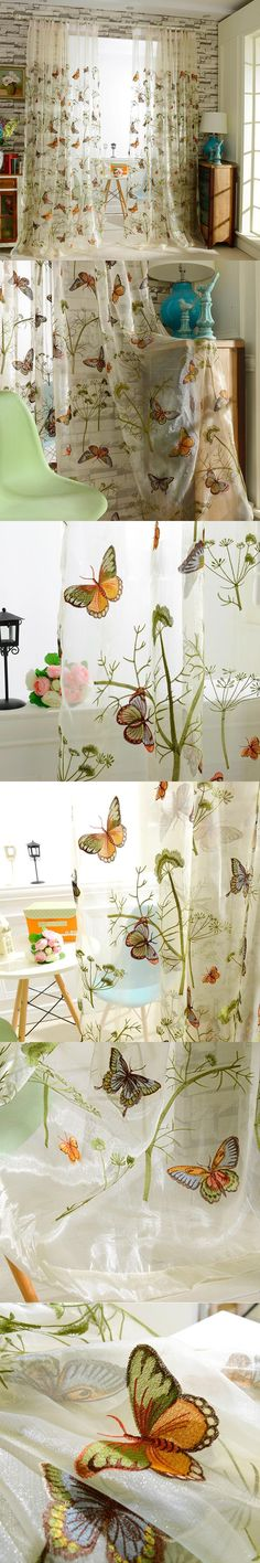 Home Decor Window Luxury Sheer Curtains For The Bedroom Butterfly Embroidery Flower Tulle Free Shipping 150x260cm $48.99
