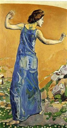 Joyous Woman - Artist: Ferdinand Hodler Style: Art Nouveau (Modern) Genre: genre painting Technique: oil Material: canvas Dimensions: 92 x 132 cm Gallery: Private Collection