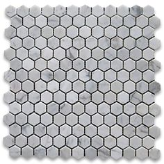 "Carrara White (Bianco Carrera) 1"" Hexagon Mosaic Tile Polished - Marble from Italy Marble 'n things http://www.amazon.com/dp/B006A82EBO/ref=cm_sw_r_pi_dp_jpI2vb1VVEDQ3"