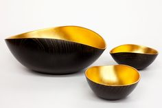 Impossibly Thin and Light Hand-carved Zelkova Wood Lacquered Gold Leaf Sake Set    A delicate and sophisticated way to enjoy Japanese sake or wine.