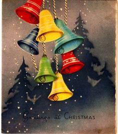 Vintage Christmas Card Pretty Bells Yellow Blue Red Green................................lb xxxX