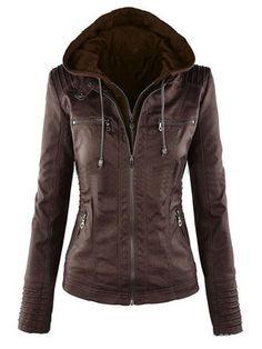 Casual Zipper Hooded Women PU Leather Jackets  women fashion