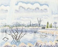 Charles E. Burchfield (1893-1967), Spring Landscape, 1958; watercolor and pencil on paper, 15¼ x 19 inches; Image from the Burchfield Penney Archives