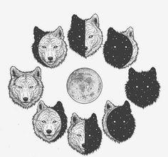 Surrealism Employed to Draw Animal Illustrations Moon Clan – Wolf Moon Cycle. Surrealism Employed to Draw Animal Illustrations. By Chen Naje. Wolf Tattoos, Animal Tattoos, Wolf And Moon Tattoo, Luna Tattoo, Moon Cycle Tattoo, Animal Drawings, Art Drawings, Drawing Animals, Animal Illustrations