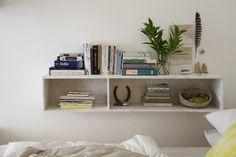 Susan Hoff's Bedroom with custom shelf | Remodelista