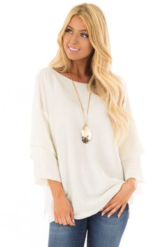 5c6eb886f14295 Lime Lush Boutique - Ivory Boatneck Sweater with Tiered 3/4 Bell Sleeves,  $46.99