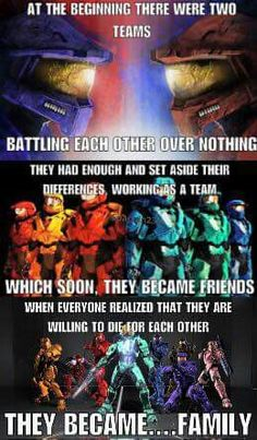 """Enemies that became Friends that became a Family. And how about when Carolina said """"Church. I can't lose another family. Halo Funny, Rwby Red, Halo Game, Achievement Hunter, Red Vs Blue, Pokemon, Rooster Teeth, Cultura Pop, Geek Culture"""