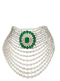 'Cascading diamonds': emeralds and diamonds set in 18K gold necklace.