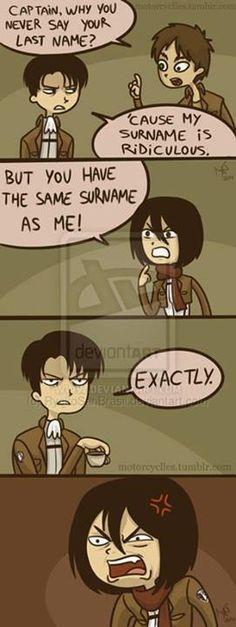 Heichou, y u no say your last name? Cuz it's ridiculous! // SnK // Levi - Eren - Mikasa