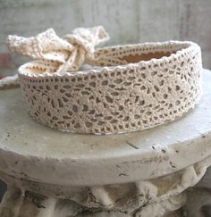 From the Gilded Dragonfly -HEIRLOOM LACE- boho bohemian hippie cluny lace headband in ecru. $12.00, via Etsy.