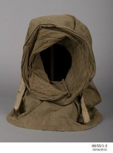Burberry helmet worn by Charles Laseron on the 1911-1914 Australasian Antarctic Expedition with Dr Douglas Mawson. Collection of the Powerhouse Museum, Sydney, 98/551-4, gift of Judy Richter, 1998.