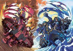 "Team Magma VS Team Aqua - Official Artwork from ""Pokémon Omega Ruby - Alpha Sapphire"""