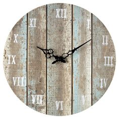 Hang this weathered clock on your gallery wall or above the fireplace for a touch of rustic style in the den, living room, or foyer.