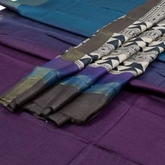 Weavers Studio Calypso Blue & Bossanova Purple Ombre Printed Banarasi Tussar Silk 2 Piece Salwar Suit Material with Tissue Border 10001901 - AVISHYA.COM