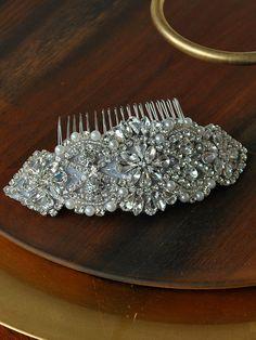 Pearl and Crystal Bridal Headpiece Rhinestone by GildedShadows