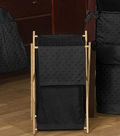 Baby's Own Room - Solid Black Minky Dot Baby and Kids Clothes Laundry Hamper, $42.99 (http://www.babysownroom.com/baby-kids-clothes-laundry-hamper-for-solid-black-minky-dot-bedding-by-sweet-jojo-designs/)