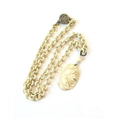 Vintage Chinese Carved Bone Necklace Sterling Silver Filigree Clasp... (£73) ❤ liked on Polyvore featuring jewelry, necklaces, vintage antique jewelry, sterling silver pendants, antique pendants, vintage necklaces and antique necklaces