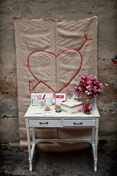 #wedding #indie #hipster #heart #crossstitch #red #pink #flowers #floral #table #desk #cute