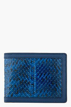 Alexander McQueen Blue Snakeskin Money Clip Wallet
